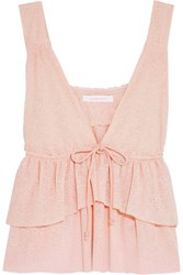 See By Chloe Tiered Stretch Knit Top Pastel Pink