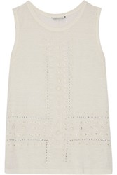 Rebecca Minkoff Mary Katherine Studded Broderie Anglaise Paneled Linen Top Off White