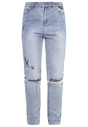 New Look Petite Mom Slim Fit Jeans Navy Blue Denim