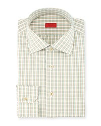 Isaia Woven Box Gingham Dress Shirt Seafoam Gold Blue