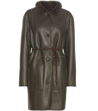 Closed Leather Coat Green
