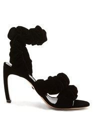 Nicholas Kirkwood Courtney Scrunchie Effect Velvet Sandals Black