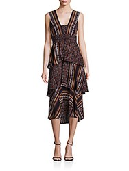 A.L.C. Hayley Scarf Print Tiered Dress Brown Multicolor