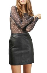 Topshop Women's Faux Leather Pencil Skirt Black