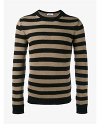 Valentino Striped Cashmere Jumper Black Beige White
