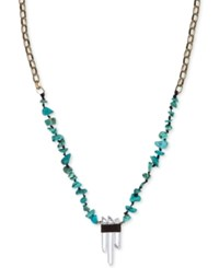 The Sak Gold Tone Turquoise Beaded Crystal Pendant Necklace