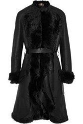 Roberto Cavalli Belted Shearling Trimmed Textured Leather Coat Black