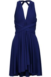 Norma Kamali Convertible Pleated Stretch Jersey Mini Dress Royal Blue