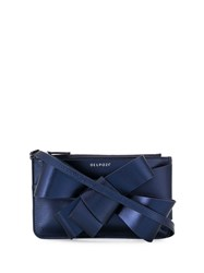 Delpozo Bow Embellished Clutch Blue