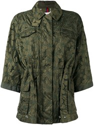 Moncler Cropped Sleeve Raincoat Green