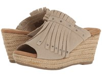 Minnetonka Quinn Stone Suede Women's Wedge Shoes Gray