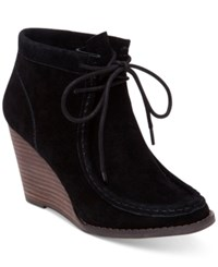 Lucky Brand Women's Ysabel Lace Up Wedge Booties Women's Shoes Black