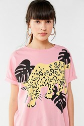 Truly Madly Deeply Tropical Jaguar Tee Pink