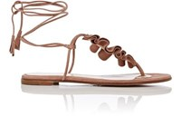 Gianvito Rossi Women's Ruffled Suede Thong Sandals Pink