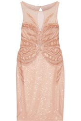 Badgley Mischka Embellished Tulle Dress Blush