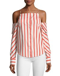 Stylekeepers Can't Be Tamed Cold Shoulder Striped Poplin Top Multi Pattern