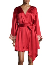 La Perla Maison Lace Trim Short Robe Red Gold