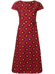 Aspesi Belted Floral Print Dress Red
