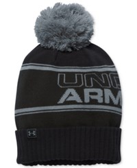 Under Armour Men's Pom Pom Beanie True Gray Heather Stealth Gray Black