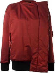 Yang Li Off Centre Zip Padded Jacket Red