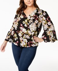 Inc International Concepts I.N.C. Plus Size Printed Blouse Created For Macy's Orchids