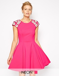 Forever Unique Skater Dress With Daisy Embellished Sleeves Fuschia