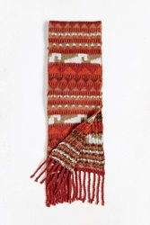 Urban Outfitters Geo Brushed Knit Scarf Red