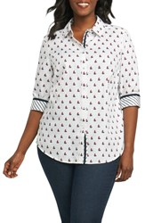 Foxcroft Plus Size Women's Ava Sailboat Print Non Iron Cotton Shirt Navy Multi