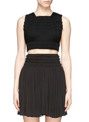 Azzedine Alaia Shirred Cropped Top Black