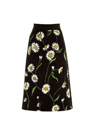 Dolce And Gabbana Daisy Print And Rose Jacquard Skirt