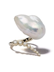 Mizuki 14Kt Yellow Gold Curved Diamond And Pearl Ring 60