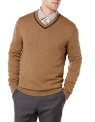 Perry Ellis Knit V Neck Sweater Otter Brown