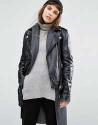Goosecraft Relaxed Boyfriend Fit Leather Jacket With Belt Black