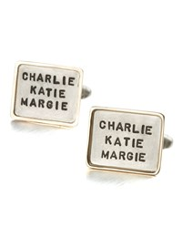 Personalized Square Cuff Links 3 Lines Men's Silver W Gold Trm Heather Moore