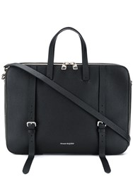 Alexander Mcqueen Grained Leather Briefcase Black