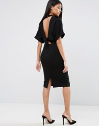 Asos High Neck Open Back Wiggle Dress Black