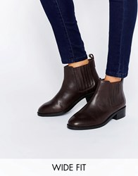 Asos About Time Wide Fit Leather Chelsea Boots Oxblood Red