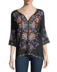 Johnny Was Tivva Embroidered Linen Peasant Top Plus Size Black