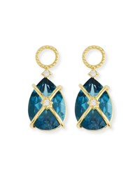 Jude Frances 18K Lisse Tiny Criss Cross Pear Stone Earring Charms Blue Gold