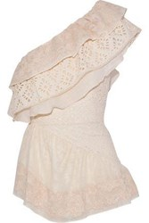 Love Sam One Shoulder Broderie Anglaise Gauze And Embroidered Woven Cotton Top Cream