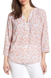 Nydj Split Neck Floral Top Canyon Clover Winds Breath