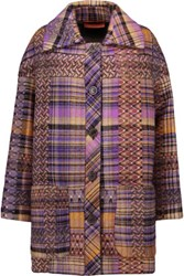 Missoni Printed Wool And Mohair Blend Coat Purple