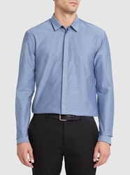 Minimum Navy Bartlett Stretch Poplin Slim Fit Shirt Blue