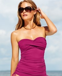 Anne Cole Twist Front Ruched Tankini Top Women's Swimsuit Orchid