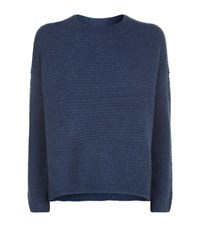 Vince Oversized Crew Neck Jumper Female Blue