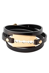 Mcq By Alexander Mcqueen Leather Bracelet With Razor Blade Motif