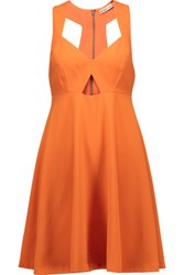 Alice Olivia Dina Cutout Crepe Mini Dress Bright Orange