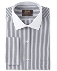 Tasso Elba Men's Classic Regular Fit Non Iron Charcoal Twill Bar Stripe Contrast Collar French Cuff Dress Shirt Only At Macy's