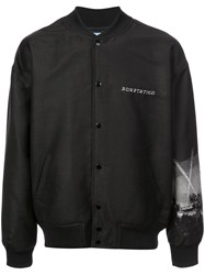Adaptation Back Print Bomber Jacket Black