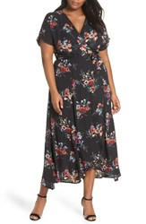 Bobeau Plus Size Wren Wrap Dress Black Floral